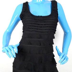 Max Studio Black Slimming Tunic M 8 10 Ruffled